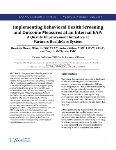 Implementing Behavioral Health Screening And Outcome Measures At An Internal Eap A Quality Improvement Initiative At Partners Healthcare System