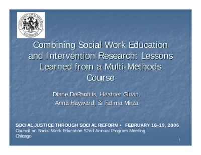 Combining Social Work Education and Intervention Research: Lessons