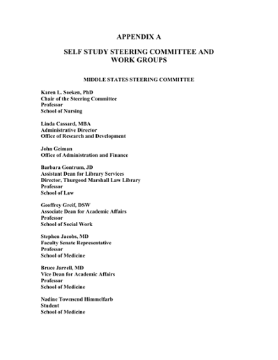 APPENDIX A SELF STUDY STEERING COMMITTEE AND WORK GROUPS