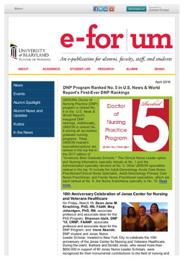 April 2016 School of Nursing News