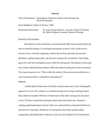 Abstract Title Of Dissertation Interruptions Within The Culture Of The Nursing Unit Work Environment Susan Hopkinson Master