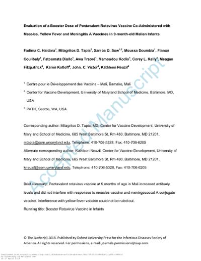 Evaluation of a Booster Dose of Pentavalent Rotavirus
