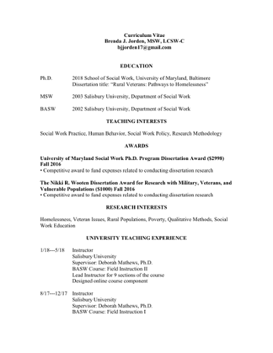 Curriculum Vitae Brenda J  Jorden, MSW, LCSW-C bjjorden17@gmail com