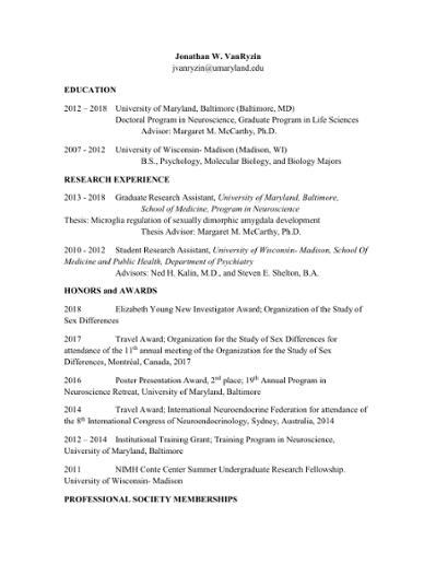 Jonathan W  VanRyzin jvanryzin@umaryland edu EDUCATION 2012