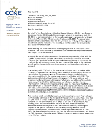 CCNE Letter 2015 and Certificate of Accreditation for the